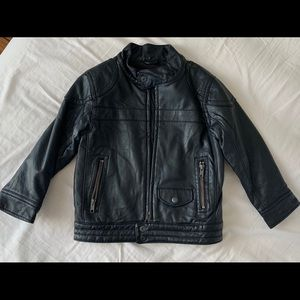 Baby Gap Size 4 Toddler Black faux leather jacket